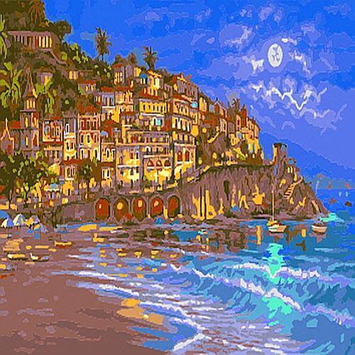 피포페인팅 B672 밤하늘아래 바닷가풍경 DIY명화그리기 홈갤러리