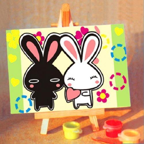 아이윙스 피포페인팅 미니 DX006 흰토끼 검은토끼 10x15 DIY명화그리기 셀프페인팅