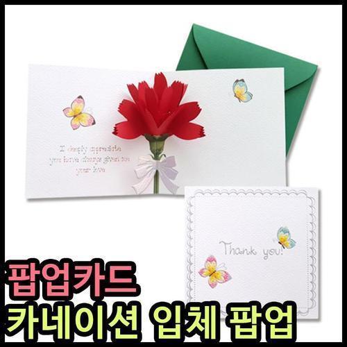 5000 안개나라 카네이션카드 리본 팝업카드 입체꽃 핸드메이드 어버이날카드 스승의날카드