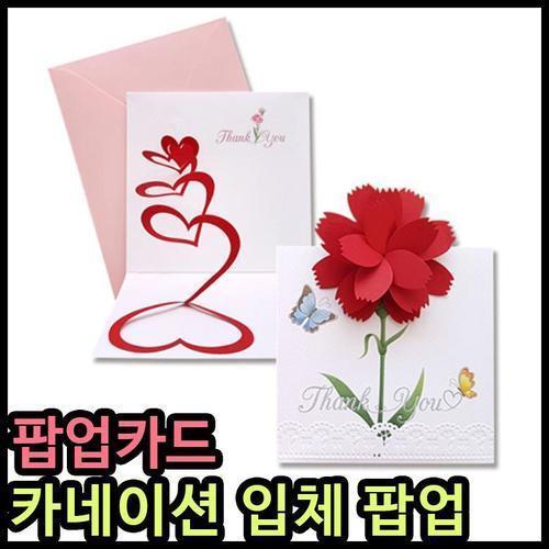 5000 안개나라 카네이션카드 팝업카드 입체꽃 핸드메이드 어버이날카드 스승의날카드