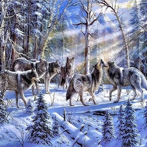 아이윙스 40000 피포페인팅 q3299 wolves in the snow diy명화그리기 diy그림그리기