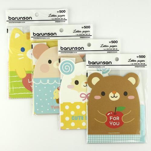 아이윙스 500 바른손 귀여운 동물캐릭터 편지지세트 4종세트
