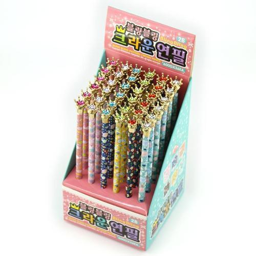 아이윙스 600 블링블링 크라운 연필 (6컬러 36개입) 2B