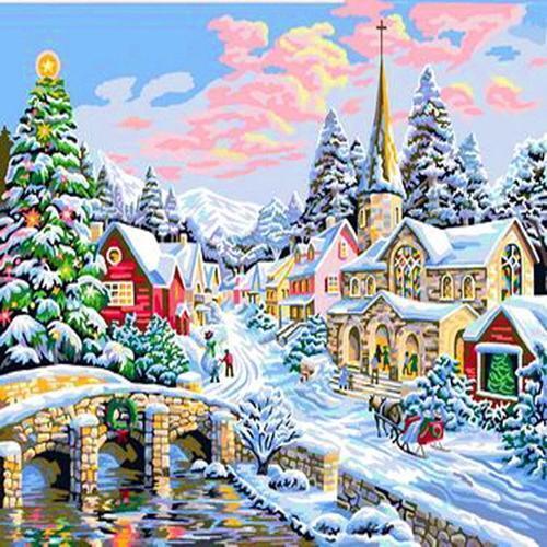 아이윙스 40000 피포페인팅 b05 눈쌓인 크리스마스 이브풍경 diy명화그리기