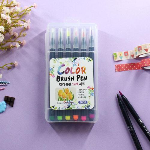 아이윙스 3000 캘리그라피 12색 손글씨 애니메이션 컬러붓펜세트 딥펜