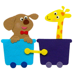 반짝이펠트소품-강아지,기린기차