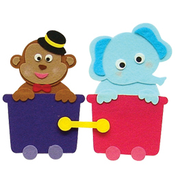 반짝이펠트소품-원숭이,코끼리기차