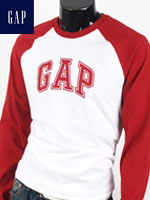 GAP 갭 남녀공용 라운드 긴팔티셔츠 - 화이트/레드 패치