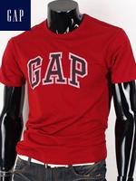 GAP 갭 남녀공용 라운드 반팔티셔츠 - 레드/네이비 패치