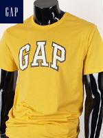 GAP 갭 남녀공용 라운드 반팔티셔츠 - 옐로우/화이트 패치