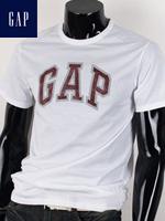 GAP 갭 남녀공용 라운드 반팔티셔츠 - 화이트/레드 패치