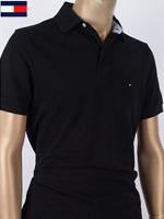 Tommy Hilfiger 타미힐피거 성인용 커스텀핏 반팔 PK셔츠 - 블랙