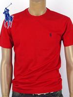 POLO 폴로랄프로렌 남녀공용 라운드 반팔 티셔츠 - 레드