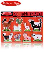 Melissa & Doug Sound Puzzle 멜리사앤더그 유아교구 원목 모양 맞추기 농장동물 사운드퍼즐