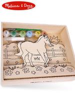 Melissa & Doug Paint By Number Shadowbox Horse 멜리사앤더그 유아교구 원목 쉐도우박스 색칠하기 장난감