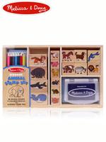 Melissa & Doug Animal Stamps Sets 멜리사앤더그 유아교구 원목 동물모양스탬프 장난감