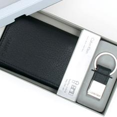 CK 캘빈클라인 남성 삼단지갑 + 키홀더 세트 79081 블랙