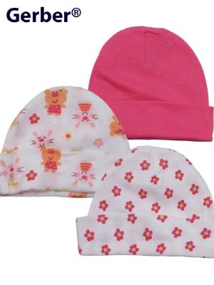 Gerber 거버 순면 아기 모자 3개 set - 핑크