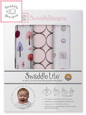 Swaddle Design 스와들디자인 SD 라이트 선물세트 3종 아기 속싸개 - 파스텔핑크(441PP_SDLT(3)441PP)