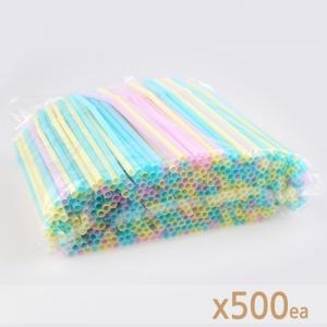 아이스 컵 용 자바라 스트로우(파스텔) - 500개