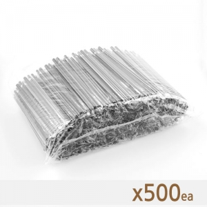 아이스컵 용 개별포장 일자 스트로(검정) - 500개